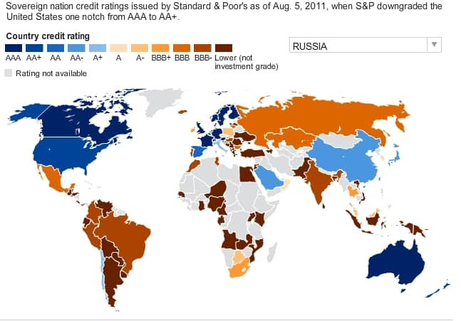 sp credit rating countries map