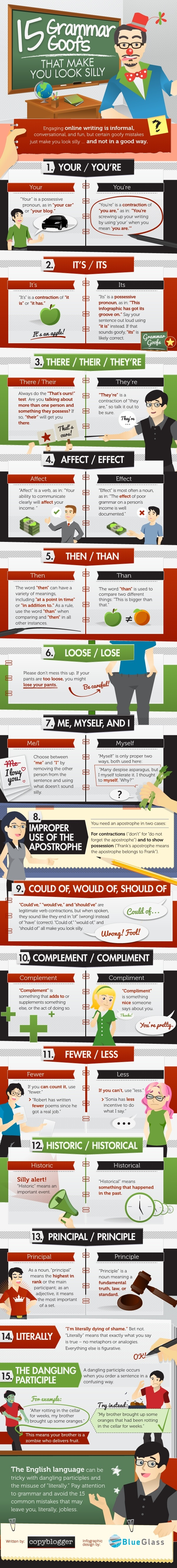 15 Grammar Goofs That Make You Look Silly Infographic