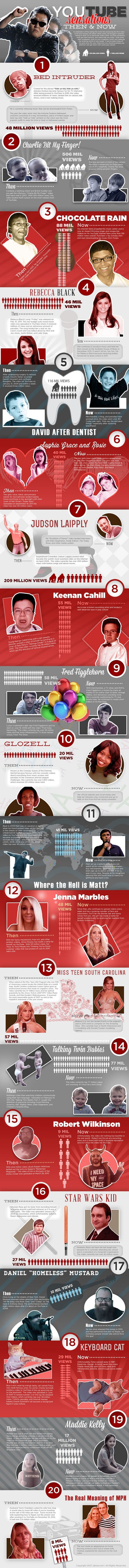 YouTube Sensations Where are they now Infographic