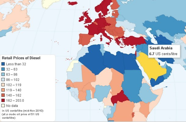 Interactive Map Worldwide Retail Prices of Diesel
